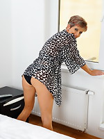 Lewd European housewife playing by herself