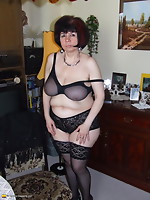 Bushy housewife getting naughty in her living room